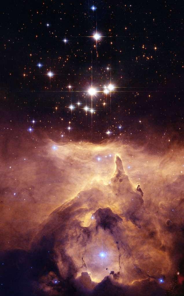 Pismis 24, un amas d'étoiles de la nébuleuse NGC 6357, a déjà été imagé par le télescope spatial Hubble. © Nasa/Esa/J. Maíz Apellániz (Instituto de Astrofísica de Andalucía, Spain)