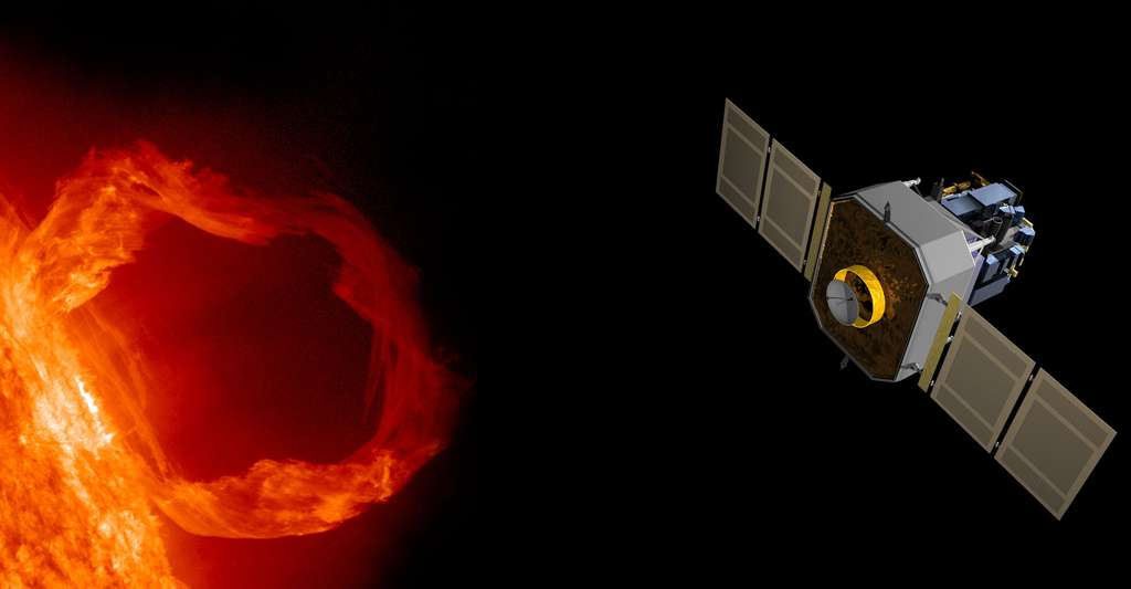 Il existe différents instruments de mesure des vibrations solaires, comme Soho et le réseau Gong. Ici, illustration du satellite Soho, en observation autour du Soleil. © Nasa, SDO AIA Team Cgruda, Wikimedia Commons, DP