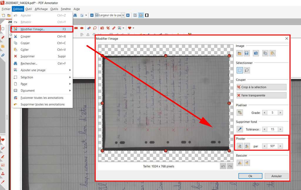 Redresser une image avec PDF Annotator © GRAHL software design