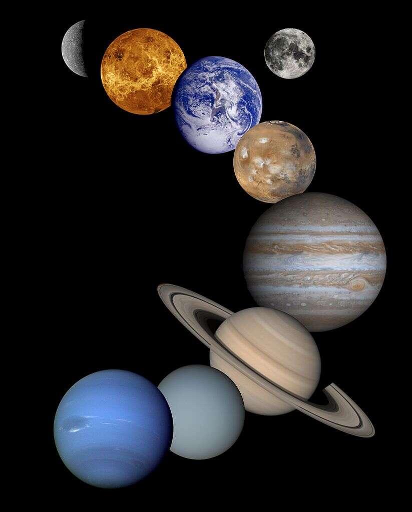 Les planètes du Système solaire (plus la Lune, en haut, à droite). © Nasa