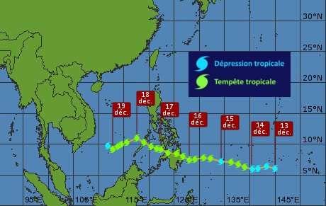 Évolution de la tempête Washi, de sa formation le 13 décembre à la fin de sa vie le 19 décembre. © Weather Underground - adaptation Futura-Sciences