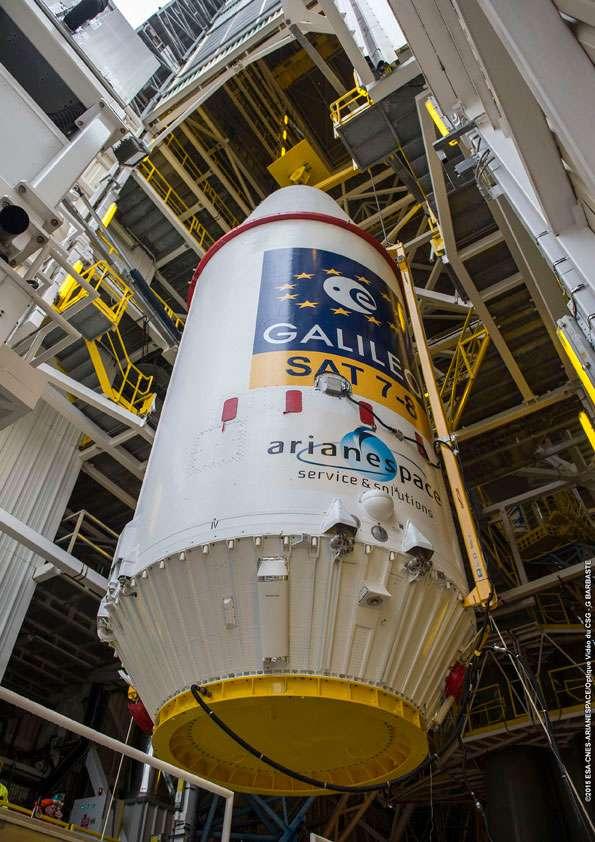 Le composite supérieur du lanceur Soyouz avec à l'intérieur deux satellites de la constellation Galileo. © Esa, Cnes, Arianespace, service optique CSG