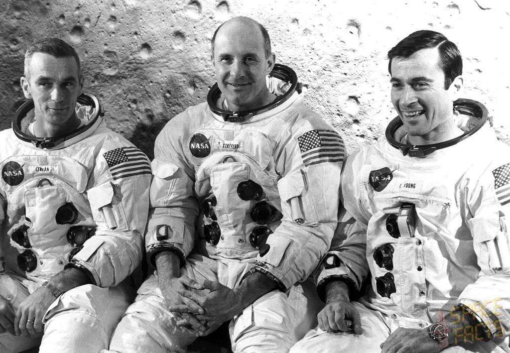 Les trois membres de l'équipage d'Apollo 10 partis le 20 mai 1969 (de gauche à droite) : Eugene Cernan, Thomas Stafford et John Young. © Nasa