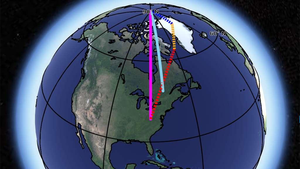 La ligne bleu clair représente la dérive observée de l'axe de rotation de la Terre. Elle est comparée ici à la somme (en rose) des effets du rebond glaciaire (en jaune), de la convection du manteau terrestre (en rouge) — qui reste incertaine — et de la perte de masse au niveau du Groenland (en bleu foncé). © Nasa, JPL-Caltech