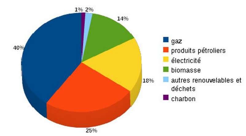 Les sources de chaleur du secteur résidentiel et tertiaire en France. La part des énergies renouvelables (une partie étant ici incluse dans l'électricité) est de 13 %. © Données PPI Chaleur 2009-2020 MEEDDM/DGEC