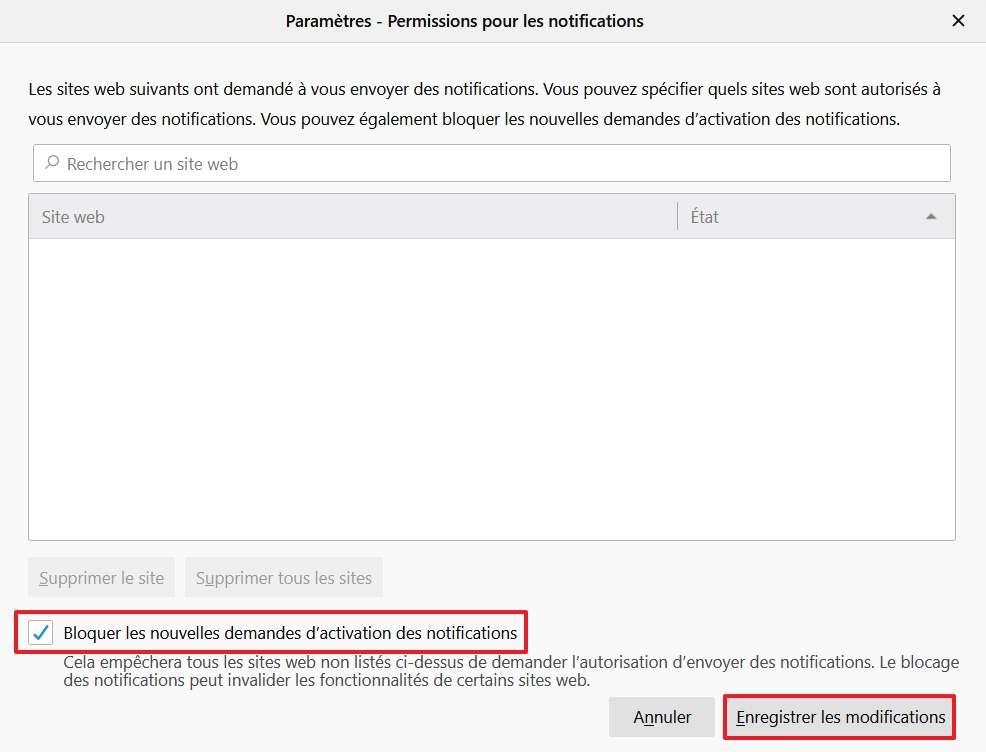 Cochez la case « bloquer les nouvelles demandes d'activation des notifications ». © Mozilla Foundation