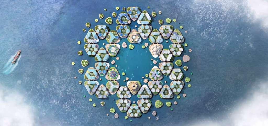 Le projet Oceanix city s'articule autour de modules hexagonaux de 15.000 mètres carrés. © Oceanix/BIG-Bjarke Ingels Group