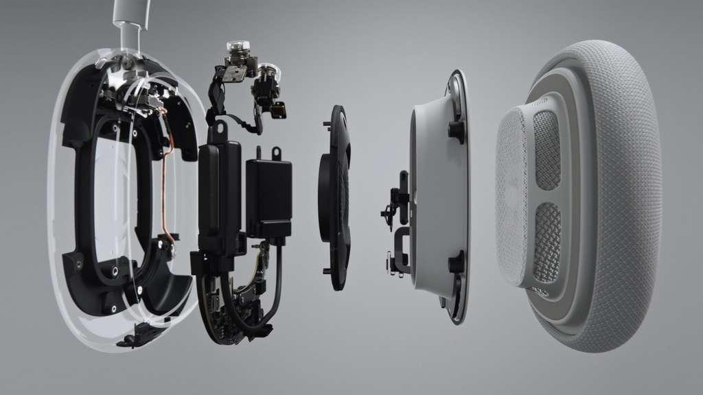 Sous le coussinet, un processeur audio à 10 coeurs déjà présent dans les AirPods. © Apple