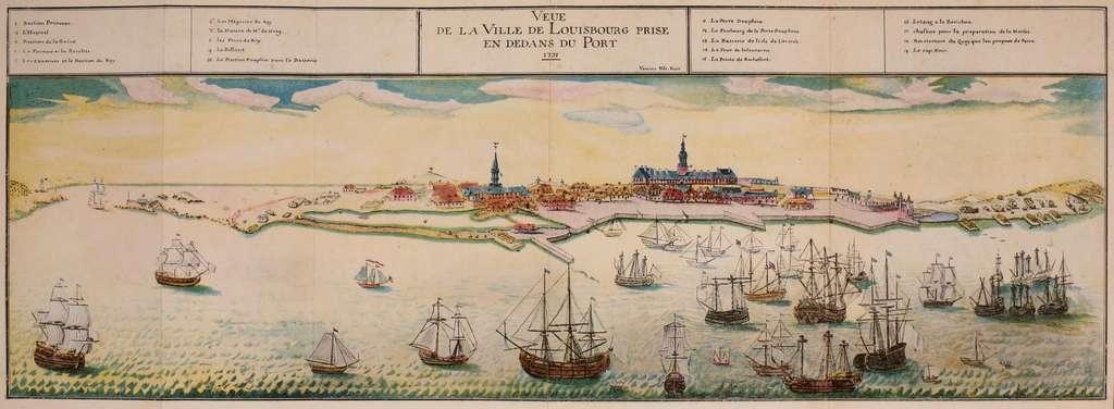 Vue du port et ville de Louisbourg, Acadie, en 1731. © Wikimedia Commons
