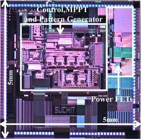 Vue agrandie de l'architecture de la puce où l'on distingue, dans le cadre blanc, le système de contrôle qui permet de récupérer simultanément l'énergie provenant des trois sources. © MIT