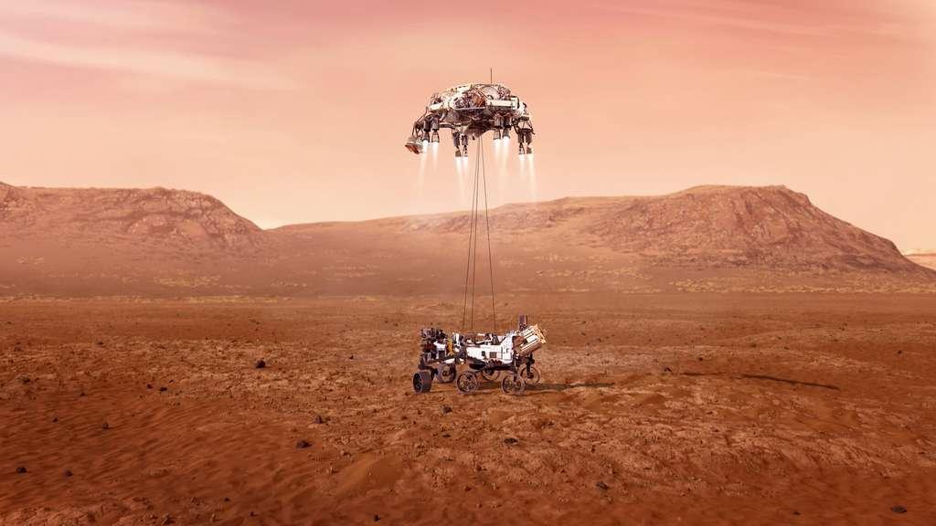 Déposé en douceur par le Sky Crane, Perseverance touche le sol de Mars. © Nasa, JPL-Caltech