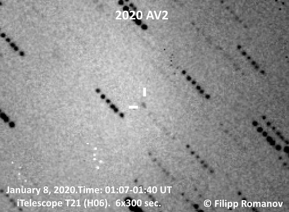 L'astéroïde 2020 AV2 tel que photographié par un astronome amateur russe. © Filipp Romanov, Wikipedia, CC by 3.0