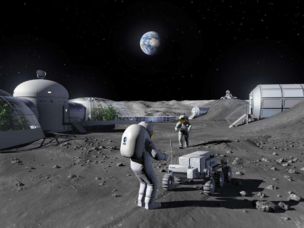 Illustration d'une base lunaire. © ESA, P. Carril