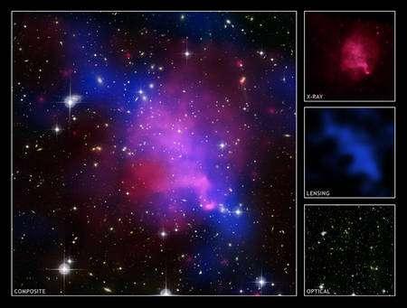 En rose les rayons X du gaz chaud des amas, en bleu la matière noire détectée par les effets de lentilles gravitationnelles (Crédit : X-ray: NASA/CXC/UVic./A.Mahdavi et al.; Optical/Lensing: CFHT/UVic./A.Mahdavi et al.)). Les détails de la supperpositions des différentes images obtenues en optique, rayons X et enfin lentilles gravitationnelles.