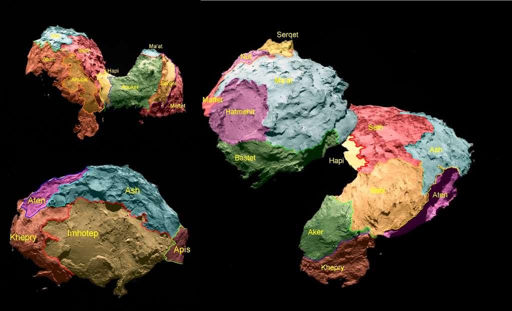 Les 26 régions identifiées sur la comète 67P/Churyumov-Gerasimenko (prononcez 67P/Tchourioumov-Guérasimenko) sont séparées par des frontières géomorphologiques distinctes. Suivant le thème égyptien antique de la mission Rosetta, ils portent le nom de divinités égyptiennes. Ils sont regroupés en fonction du type de terrain dominant dans chaque région. Cinq catégories de types de terrain ont été déterminées : couvert de poussière (Ma'at, Ash et Babi) ; matériaux fragiles avec puits et structures circulaires (Seth) ; dépressions à grande échelle (Hatmehit, Nut et Aten) ; terrains lisses (Hapi, Imhotep et Anubis), et des surfaces exposées, plus consolidées (Maftet, Bastet, Serqet, Hathor, Anuket, Khepry, Aker, Atoum et Apis). © El-Maarry, M. R.,Thomas, N., Gracia-Berná, A., et al. 2017, A&A 598, C2.