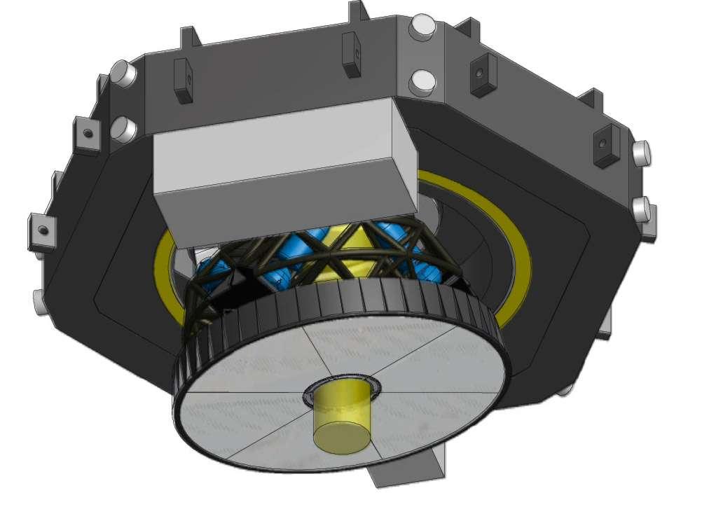 Etude préliminaire du design du miroir adaptatif (M4) de l'E-ELT. L'optique adaptative, c'est lui. Ce miroir se déforme pour corriger en permanence l'image afin de compenser les effets de la turbulence atmosphérique. © ESO