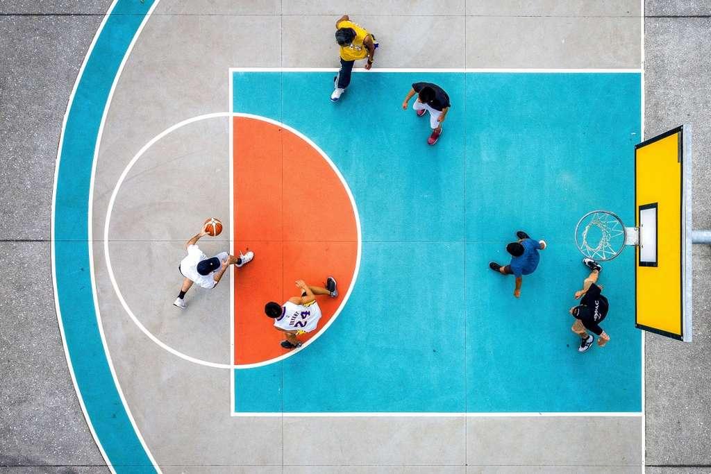 Un match à 3x3 au basket, Nouvelle-Zélande. © Petra Leary, Dronestagram