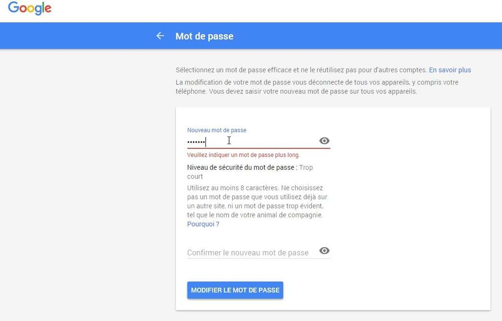 Une interface en ligne permet de modifier le mot de passe de GMail. © Google