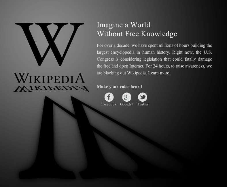 Durant 24 heures, la version anglaise de l'encyclopédie libre Wikipédia a été fermée au public en protestation contre le projet de loi Sopa. Les internautes sont tombés sur cette page d'accueil en berne. © Wikimédia Foundation