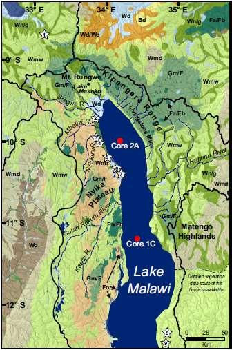 Carte du lac Malawi, un des grands lacs de la vallée du rift est-africain. Les mentions Core 2A et Core 1C indiquent où les chercheurs ont prélevé des sédiments. © van Breugel et al., 2015, Journal of Human Evolution