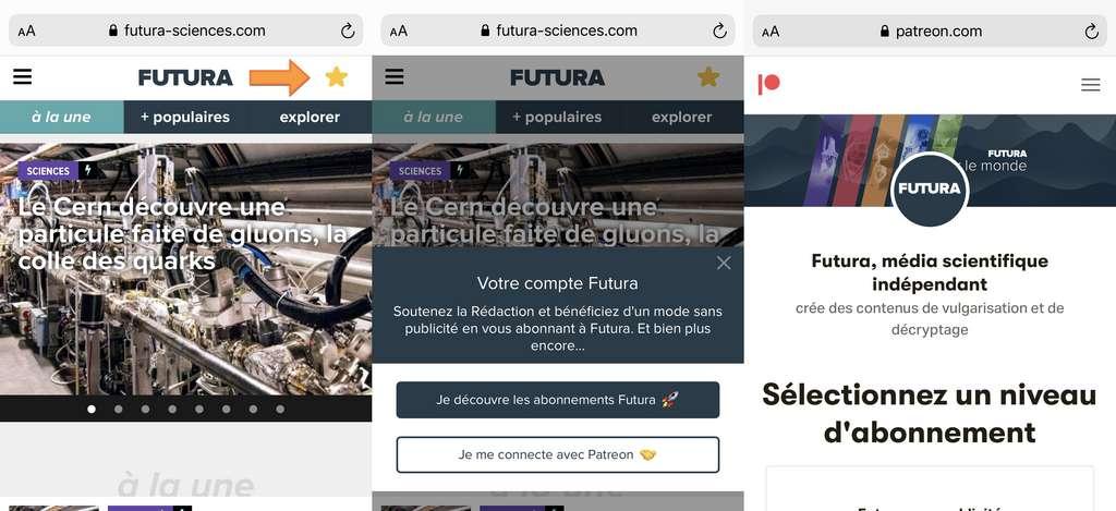 Pour contribuer, cliquez sur l'étoile dorée en haut à droite du logo Futura : c'est l'espace membre qui vous permet de vous abonner et vous identifier.