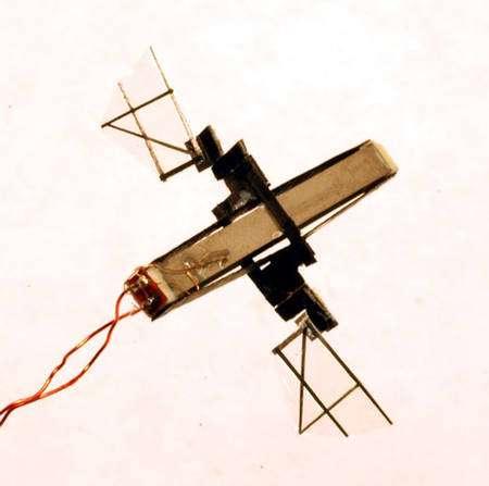 Un prototype d'insecte robotique volant réalisé par l'équipe de Ronald Fearing. © DR