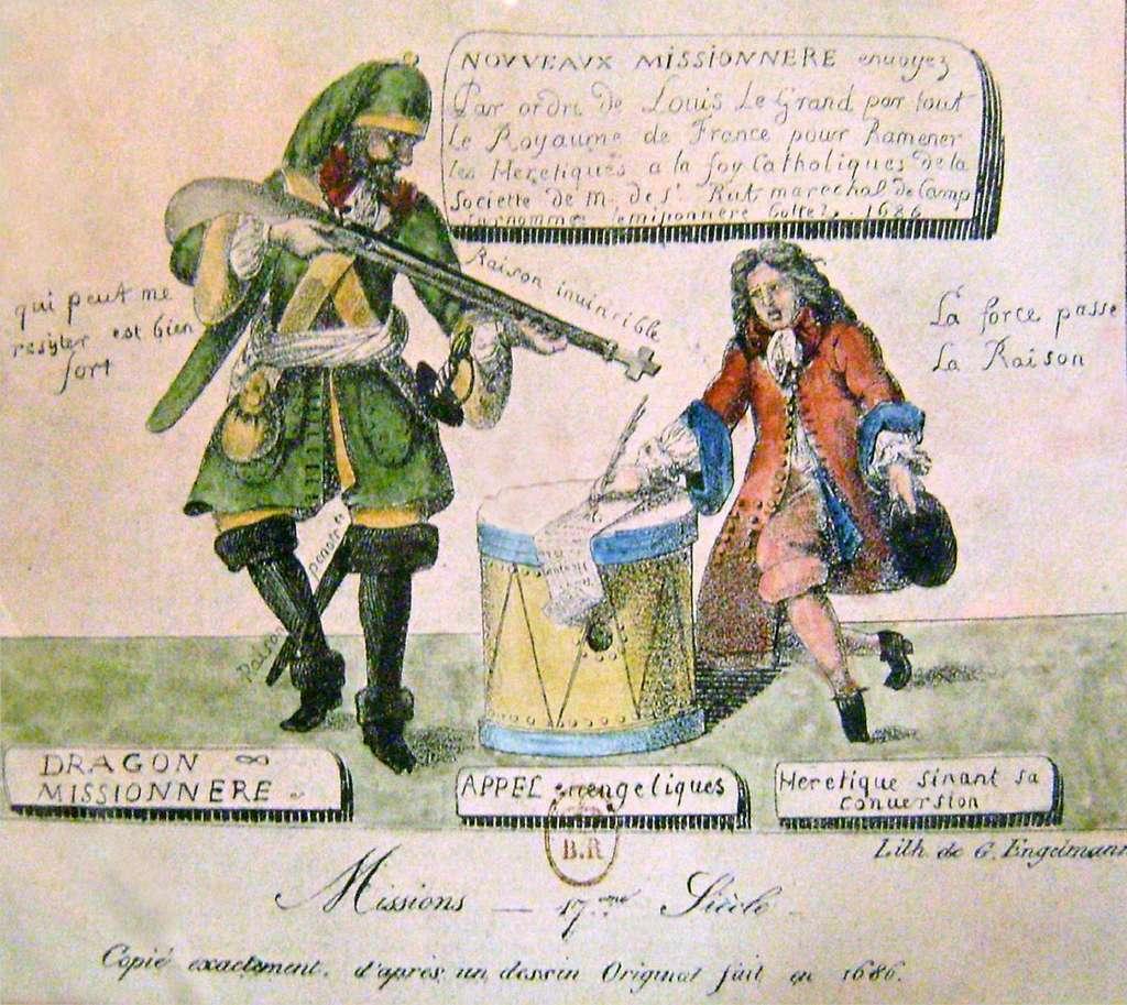 Gravure protestante représentant les dragonnades sous Louis XIV, 1686. Lithographie de Godefroy Engelmann. Musée international de la Réforme protestante, Genève. © Wikimedia Commons, domaine public