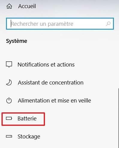 Rendez-vous dans les paramètres de la batterie. © Microsoft