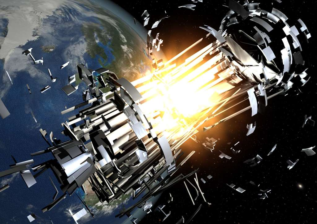 « Les objets existants sont plus susceptibles d'entrer en collision avec d'autres débris et de produire alors des morceaux supplémentaires, ce qui accroît le risque de nouvelles collisions et de défaillance des satellites », expliquent les auteurs du rapport Limiting Future Collision Risk to Spacecraft. © Esa, 2010
