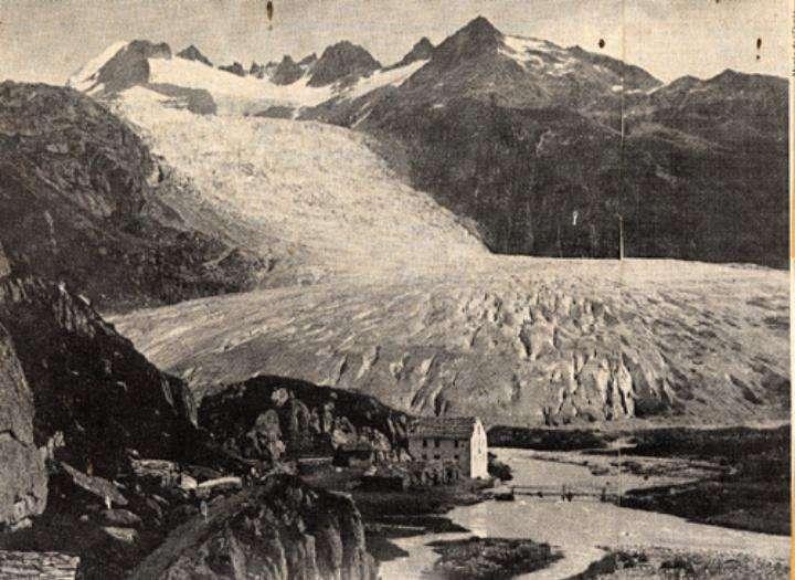 Le glacier du Rhône, en Suisse, a atteint sa longueur maximale, soit 10 km, en 1850. Il atteint presque une habitation située à l'emplacement actuel de Gletsch. D'autres maisons n'ont pas eu la chance d'être épargnées par l'avancée des glaciers durant le Petit Âge glaciaire. © F. Von Martens et université de Fribourg