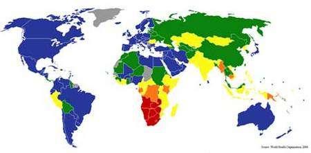 Répartition de la tuberculose dans le monde (OMS, 2006). Nombre de cas pour 100 000 habitants : moins de 50 (bleu), de 50 à 100 (vert), de 100 à 200 (jaune), de 200 à 300 (orange), plus de 300 (rouge). Source : Wikimedia Commons. Licence : GNU free documentation license, auteur : Sbw01f.