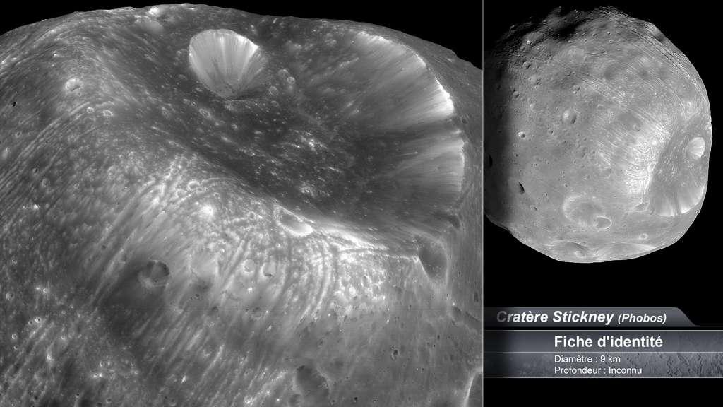 Le cratère Stickney sur Phobos, lune de Mars