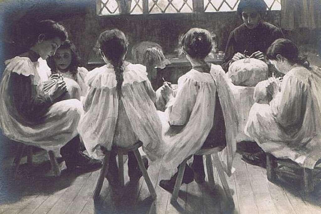 """""""Petites dentellières"""" par Mary Lancaster Lucas, vers 1874. © RMN - Grand Palais / F. Vizzanova / M. El Garby."""