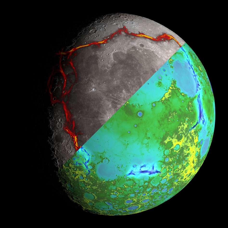 Cette image de la Lune est divisée en deux moitiés. La moitié supérieure montre, surlignées en rouge, des anomalies de gravité formant une bordure rectangulaire autour de riverains de la région d'Oceanus Procellarum. La moitié inférieure montre la topographie de la Lune déduite des mesures par altimétrie laser de la sonde LRO. Les anomalies de gravité y figurent en bleu. © Nasa/Colorado School of Mines/MIT/JPL/GSFC
