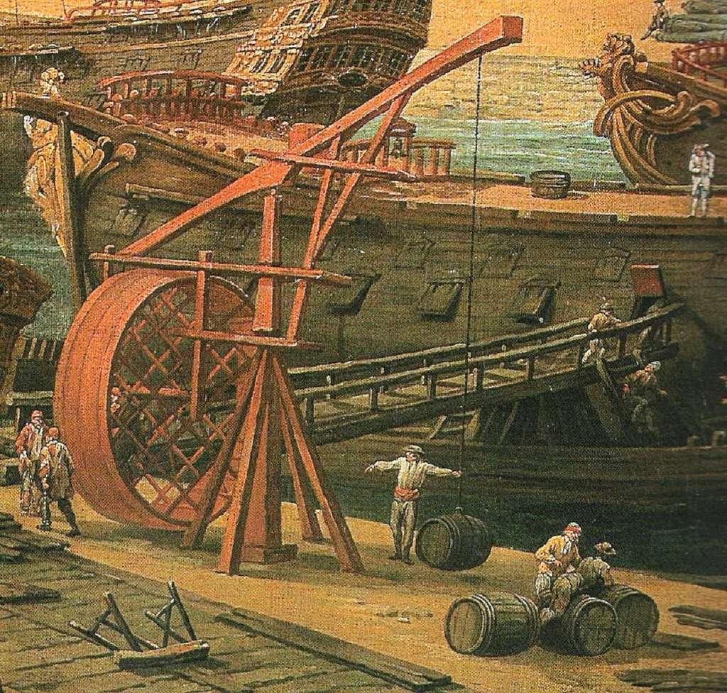 Détail (inversé) d'un tableau de Louis-Nicolas Van Blarenberghe : Vue du port de Brest, peint en 1774. © Musée des Beaux-Arts de Brest Métropole Océane