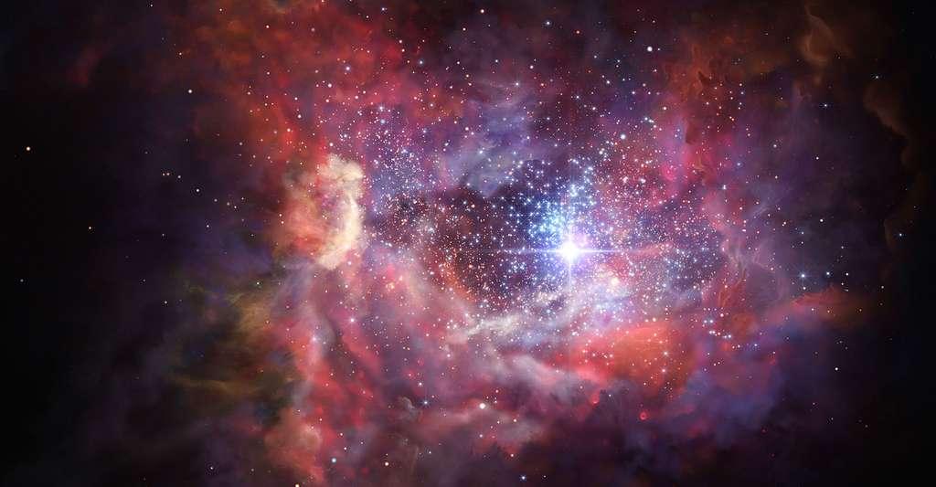 Vue d'artiste de la galaxie A2744 YD4. © ESO/M. Kornmesser, Wikimedia commons, CC by 4.0