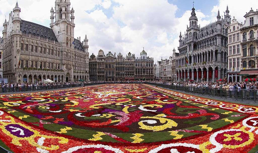 Toutes les années paires, le 15 août, un tapis de fleurs éphémère recouvre la Grand-Place de Bruxelles. © Wouter Hagens, Wikimedia Commons, CC by-sa 3.0