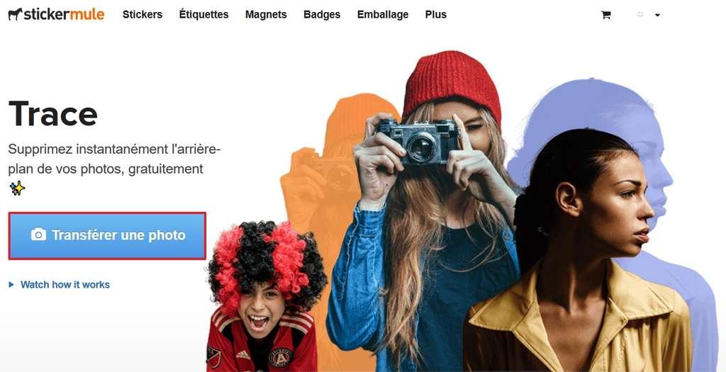 Cliquez sur « Transférer une photo ». © Sticker Mule