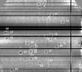 Spectre à deux dimensions obtenu en 92 heures d'exposition montrant la raie d'émission des objets détectés. Les raies d'absorption du quasar sont visibles près du centre de l'image. © ESO