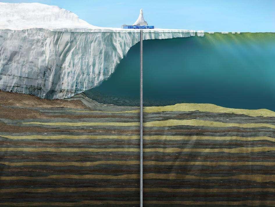 Le forage réalisé depuis la station de MacMurdo, au cours de la campagne Andrill en 2007, s'est enfoncé de plus d'un kilomètre dans les sédiments marins, après être passé à travers la banquise et dans les eaux de la mer de Ross. Seuls des sédiments marins permettraient de trouver des traces fossiles de végétaux car, à l'inverse du sol des continents, ils n'ont pas été broyés par des déplacements de glace. © University of Nebraska-Lincoln