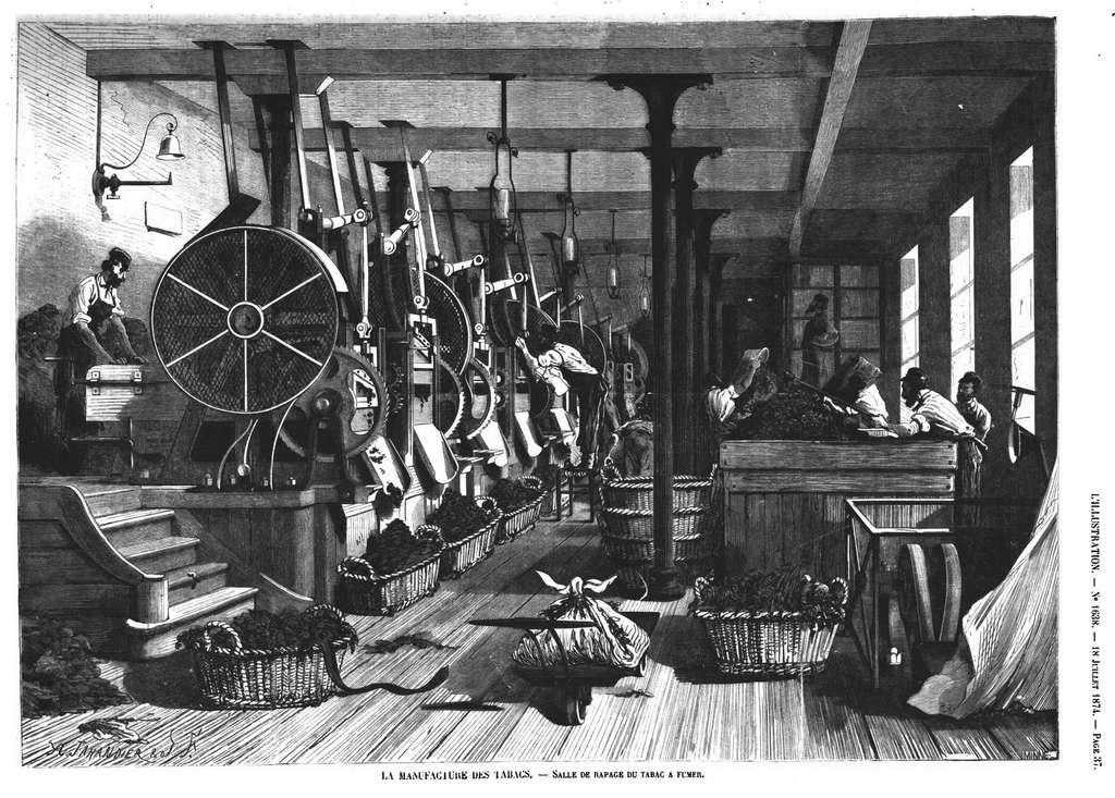 """""""La manufacture des tabacs"""", salle de râpage du tabac à fumer ; par A. Taillandier dans le journal L'Illustration, n° 1638, 1874. © Qcmtest - éducation et formation."""