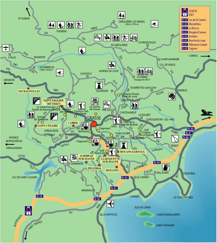 Carte touristique de la région de Grasse. © DR