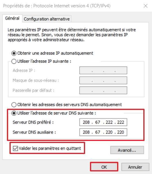 La dernière étape consiste à rentrer l'adresse des serveurs DNS de substitution. © Microsoft
