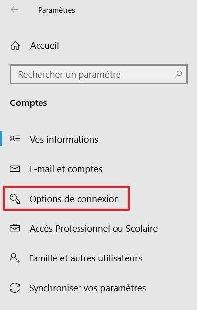 Rendez-vous dans les options de connexion de votre ordinateur. © Microsoft