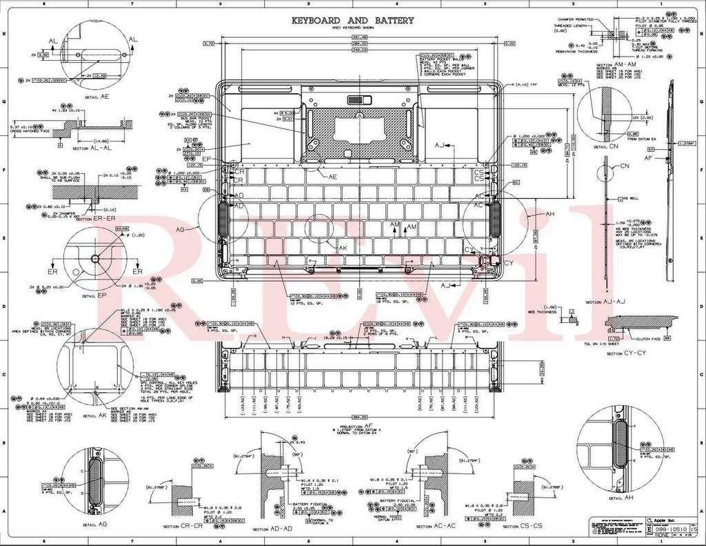 Voici les détails du clavier et de la batterie. © Revil