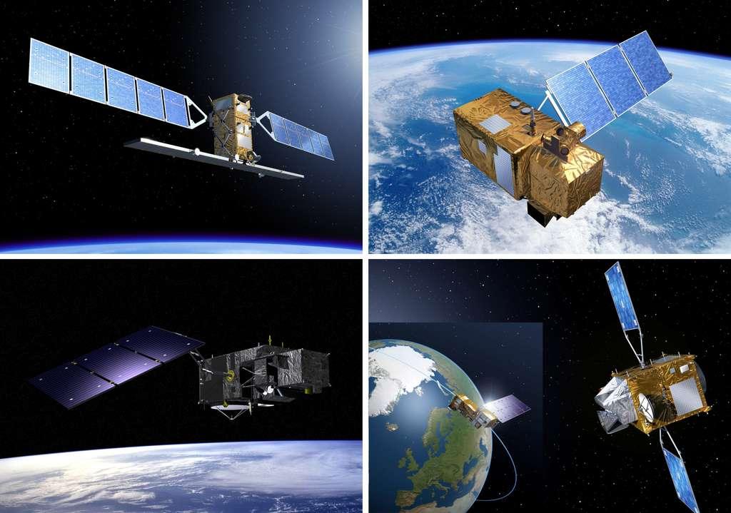La composante spatiale de Copernicus. De gauche à droite et de haut en bas, les satellites Sentinel 1, 2 et 3 et les deux instruments embarqués sur Météosat de troisième génération (Sentinel 4) et Metop de deuxième génération (Sentinel 5). © Esa