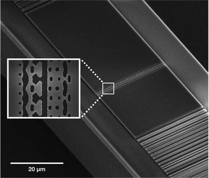 Les électrons sont accélérés par des lasers à impulsion infrarouge dans un minuscule canal de 250 nanomètres de large. En regroupant 1.000 canaux de ce type sur une puce, les chercheurs espèrent atteindre une vitesse de 94 % de celle de la lumière. © Neil Sapra