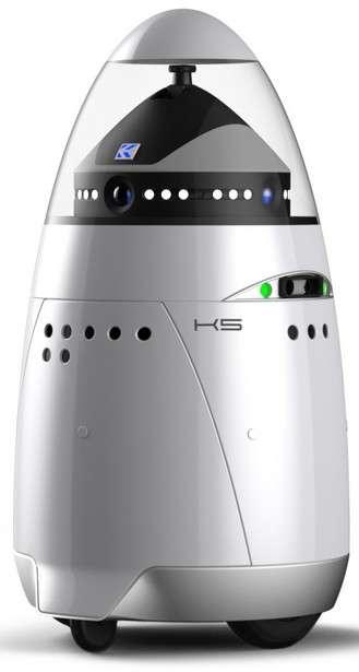 Le robot K5 a été conçu par la société américaine Knightscope, qui réunit une équipe composée d'anciens officiers de police et d'entrepreneurs diplômés des universités de Californie à Berkeley, Carnegie-Mellon et Stanford. © Knightscope