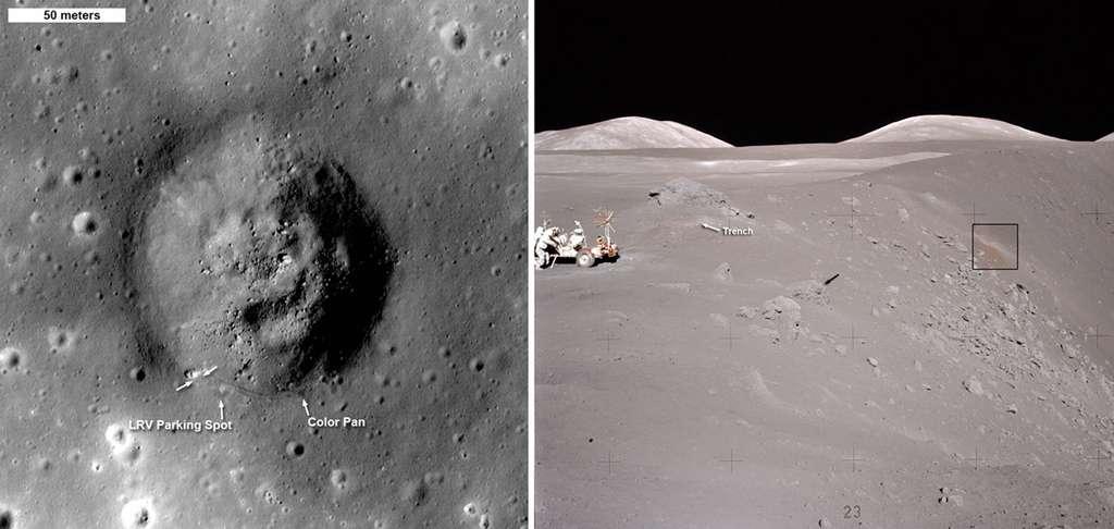 Sur la gauche, le cratère Shorty, vu par LRO, a été visité par les astronautes d'Apollo 17. La photo de droite a été prise du point marqué Color Pan sur l'image de gauche, dans laquelle le rover lunaire (LRV) est représenté par une flèche blanche unique. Les doubles flèches blanches de cette image et, sur celle de droite, le mot trench désignent l'endroit où le fameux sol orange a été découvert. Ce cratère d'impact a environ 19 millions d'années. © Nasa