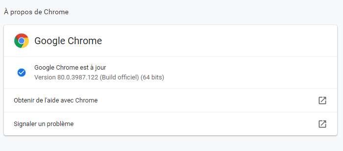 En cliquant sur À propos de Chrome, vérifiez que vous possédez bien la version 80. © Futura